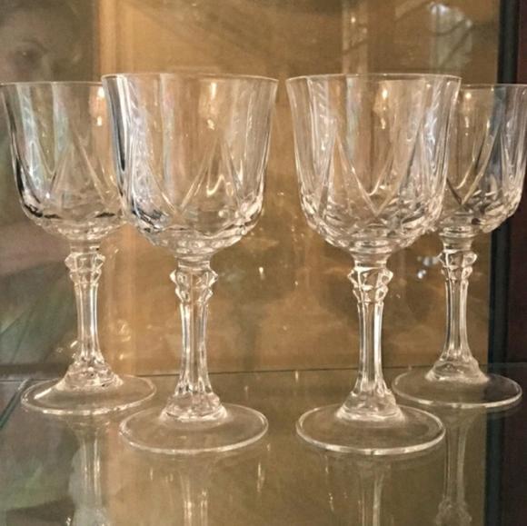 Set of 4 Vintage Crystal Star Cut Wine Stemware